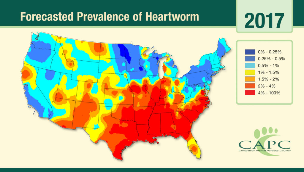 2017 capc heartworm forecast map