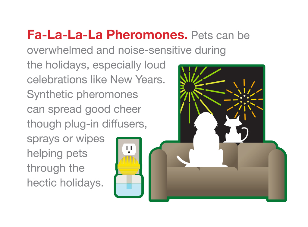 pheromones feliway adaptil holiday season christmas new year's eve