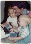 Jen Reeder with her brother Brian and her dad Tom Reeder typing on an IBM Selectric typewriter in 1976.