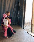 Megan in refugee camp