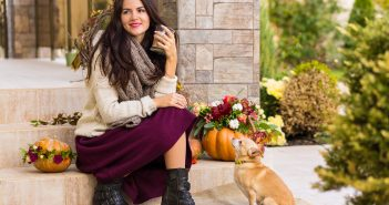 Woman with Dog at Thanksgiving