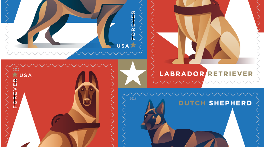 When will the dedication ceremony be held for the U.S. postage stamps featuring military working dogs?