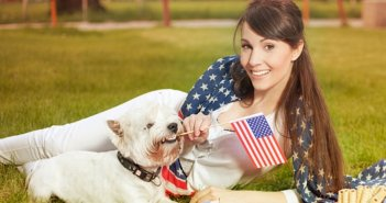 Woman and Dog with American Flag